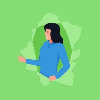 Een vrouw met een gebaar verkoopt dingen uit gescheurd papier