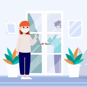 Een vrouw met een masker praat met een man tussen de deur.
