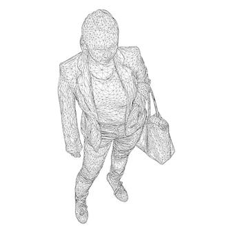 Een vrouw met een tas aan haar gebogen hand. vectorillustratie van een zwarte driehoekige mesh op een witte achtergrond.