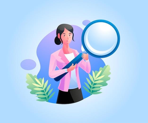 Een vrouw met een vergrootglas