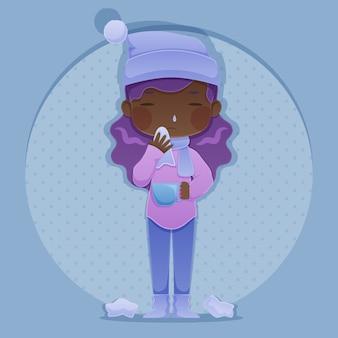 Een vrouw met een verkoudheid