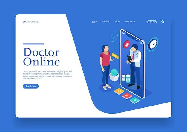 Een vrouw praat met de dokter over online isometrisch concept voor medische gezondheid met karakter