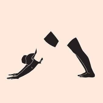 Een vrouw staat in een yogahouding minimalisme