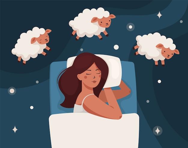 Een vrouw valt in slaap, droomt en telt schaaplammeren. slapeloosheid en slaapstoornissen.