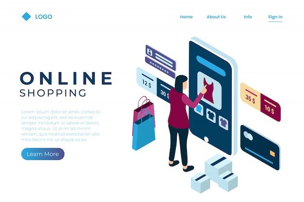 Een vrouw voert een online transactie uit met behulp van een creditcard met isometrische stijl