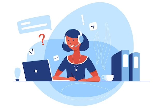 Een vrouw werkt in de klantenondersteuning. vector plat karakter zit voor een laptop en antwoordt met een koptelefoon en een microfoon. cartoon afbeelding met online chat.