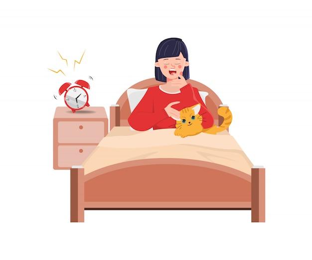 Een vrouw wordt 's morgens wakker. karakter van mensen activiteit dagelijkse routine.