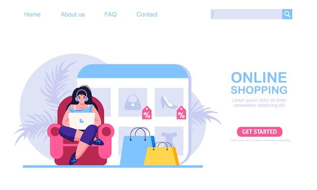 Een vrouw zittend op een bank, winkel in de online winkel. de productcatalogus op de webbrowserpagina. online winkelen concept illustratie, perfect voor webdesign, banner, mobiele app, bestemmingspagina.