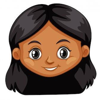 Een vrouwelijk hoofd op witte achtergrond