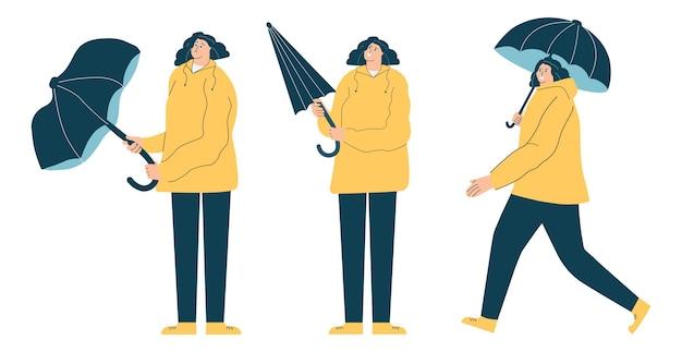 Een vrouwelijk personage met een hele gesloten en kapotte regenparaplu een set personages