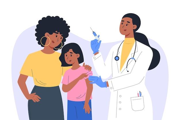 Een vrouwelijke arts in een masker en handschoenen maakt een vaccin voor een kindpatiënt