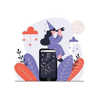 Een vrouwelijke astroloog die door telescoop kijkt.