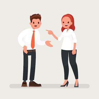 Een vrouwelijke baas scheldt een kantoormedewerker man.
