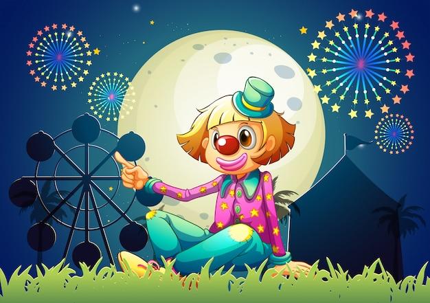 Een vrouwelijke clown in carnaval