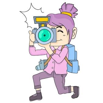 Een vrouwelijke fotograaf maakt een foto. cartoon illustratie sticker emoticon