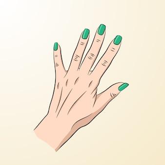 Een vrouwelijke hand met groene spijkers