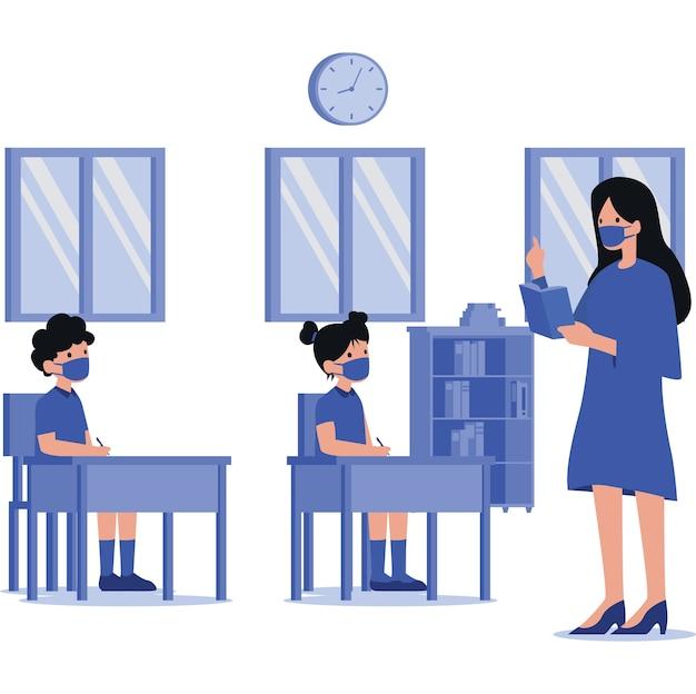 Een vrouwelijke leraar die haar student in de klas onderwijst tijdens een pandemie