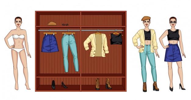 Een vrouwelijke moderne kledingkast voor de herfst. een vrouw met kleding en een kledingkast