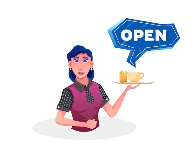 Een vrouwelijke ober gaat open