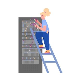 Een vrouwelijke systeembeheerder voert technisch werk uit. de engineer biedt technische ondersteuning voor een digitale server voor het opslaan van databases. platte cartoon geïsoleerde illustratie