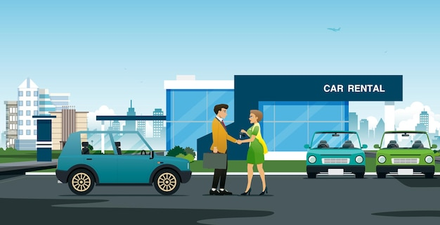 Een vrouwelijke verkoper schudt de hand om een man te feliciteren die een auto heeft gehuurd