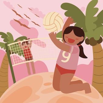 Een vrouwelijke volleyballer die zich klaarmaakt om de bal met een stromend net voor haar vast te spijkeren.