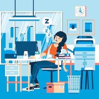 Een vrouwelijke werknemer verslapen zich op kantoor omdat ze het overuren moe was