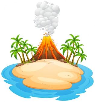 Een vulkaanuitbarstingseiland