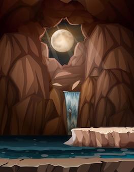 Een watervalgrot bij nacht