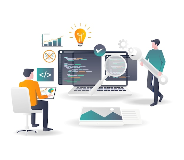 Een webontwikkelaar analyseert de programmeertaal