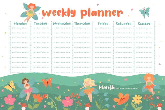 Een weekplanner met schattige feeën