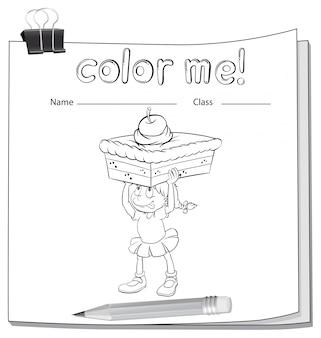 Een werkblad dat een meisje toont dat een cake draagt
