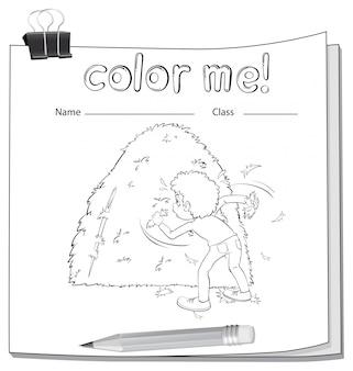 Een werkblad met een jongen en een hooiberg