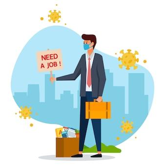 Een werkloze die vanwege de pandemie werk probeert te vinden