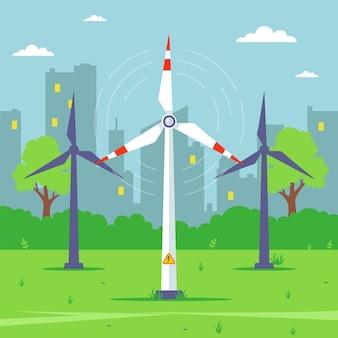 Een windmolen haalt elektriciteit uit de wind. platte vectorillustratie.