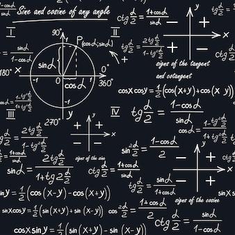 Een wiskundig naadloos patroon met geometrische vormen en formules