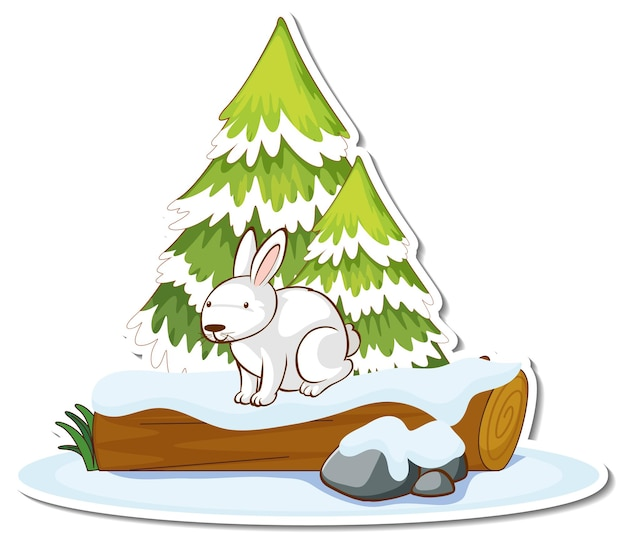 Een wit konijn met dennenboom bedekt met sneeuwsticker