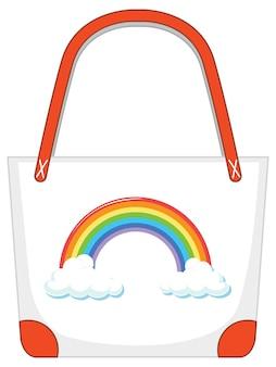 Een witte handtas met regenboogpatroon