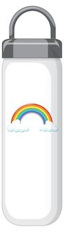 Een witte thermofles met regenboogpatroon
