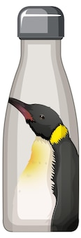 Een witte thermosfles met pinguïnpatroon