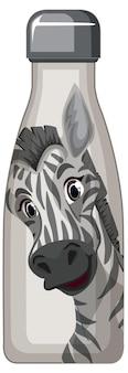 Een witte thermosfles met zebrapatroon
