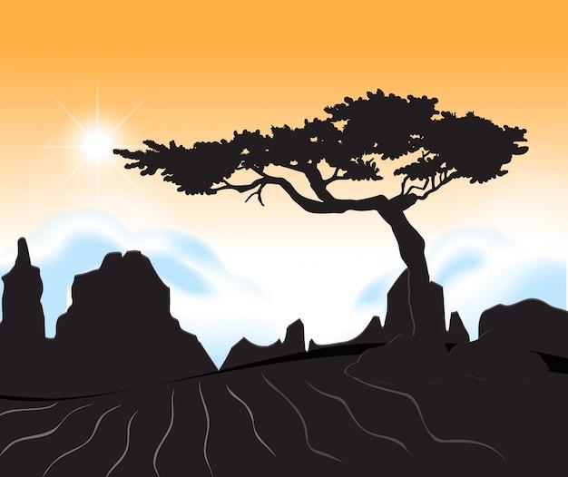 Een woestijn bij zonsondergangscène