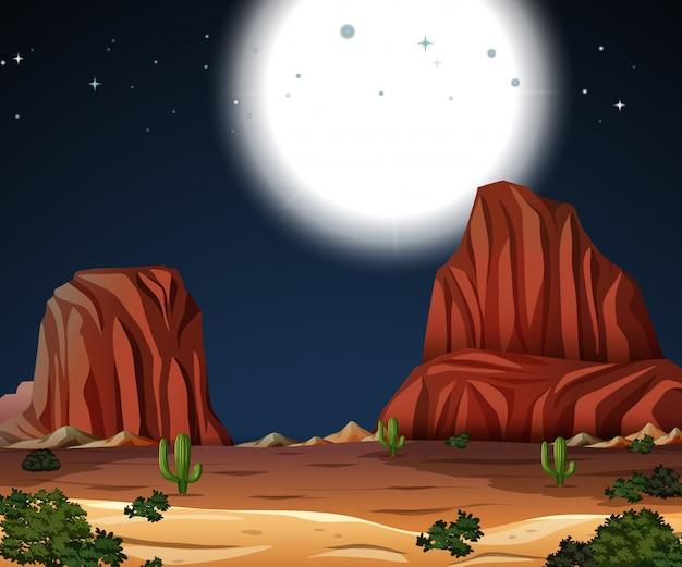 Een woestijnnacht met volle maan