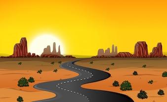 Een woestijnweg achtergrond