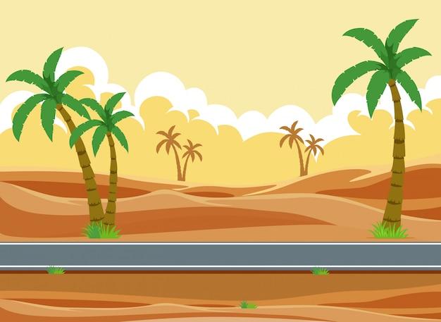 Een woestijnweglandschap