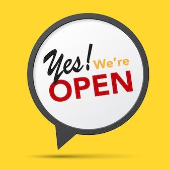 Een zakelijk bord met 'ja., we zijn open'.