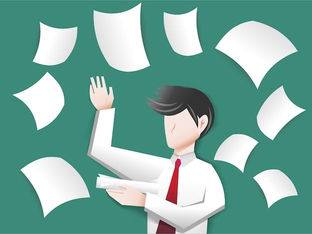 Een zakenman die een document werpt in de lucht