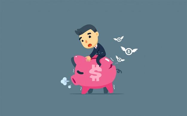 Een zakenman die een vermoeid varken berijdt