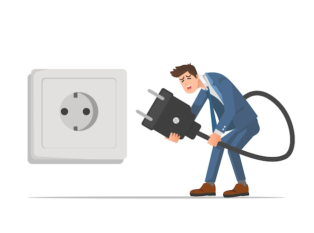 Een zakenman die geen energie heeft