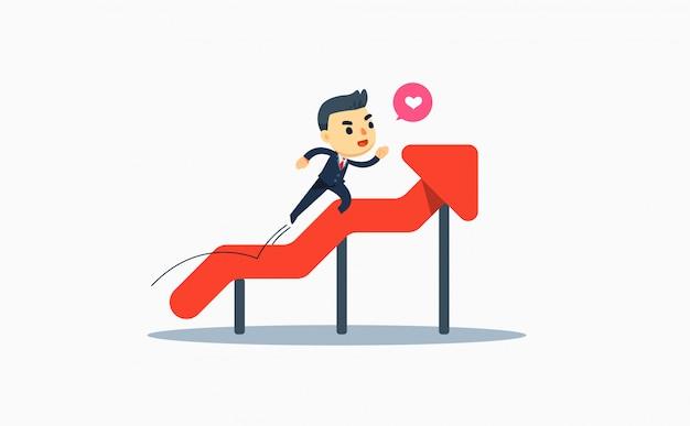 Een zakenman die het lopen in stijgende grafische grafiek gebruikt. vector illustratie